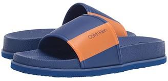 Calvin Klein Mackee (Royal Blue Nappa/Water Transfer Logo Print) Men's Sandals