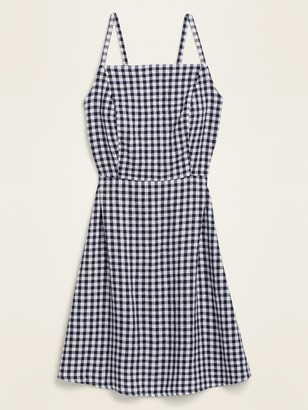 Old Navy Gingham Linen-Blend Fit & Flare Cami Sundress for Women