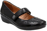 Clarks Everlay Bai Leather Hook-and-Loop Laser Cut Mary Janes