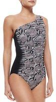 Gottex Argento Mixed-Print One-Shoulder Swimsuit