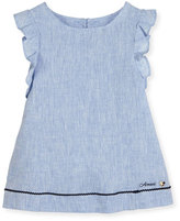 Armani Junior Ruffle-Trim Linen A-Line Dress, Blue, Size 4-8