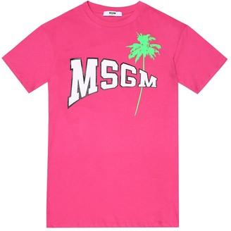 Msgm Kids Logo cotton T-shirt dress