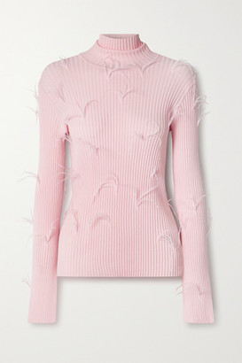 Marques Almeida Feather-embellished Ribbed-knit Turtleneck Sweater - Baby pink