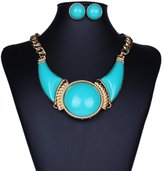 Janeyer® Janeyer Retro Lucite Round Geometric Bib Choker Chain Necklace Earring Set