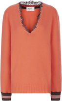 Aviu Blush V-Neck Lace Trim Jumper