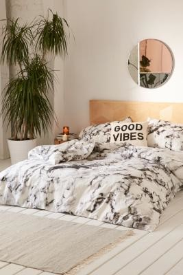Urban Outfitters Marble Print Duvet Cover Set - Black SINGLE at