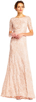 Adrianna Papell Sequin Lace Embroidered Swirl Mesh Dress AP1E201418