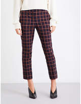 Theory Checked slim-fit stretch-wool trousers