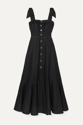 ANNA MASON Olivia Tie-detailed Metallic Crepe Maxi Dress - Black