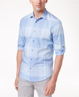 Alfani Men's Chambray Plaid Adjustable-Sleeve Cotton Shirt, Created for Macy's