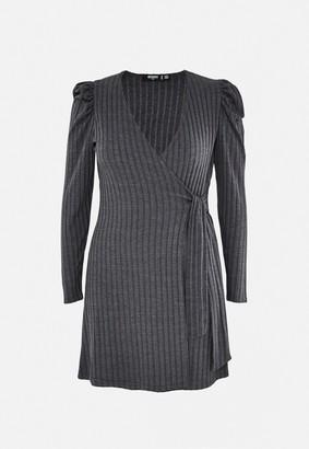 Missguided Plus Size Grey Rib Wrap Front Dress