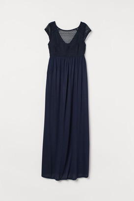 H&M MAMA Dress with Lace Bodice - Blue