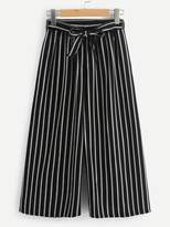 Shein Vertical Stripe Self Tie Wide Leg Pants
