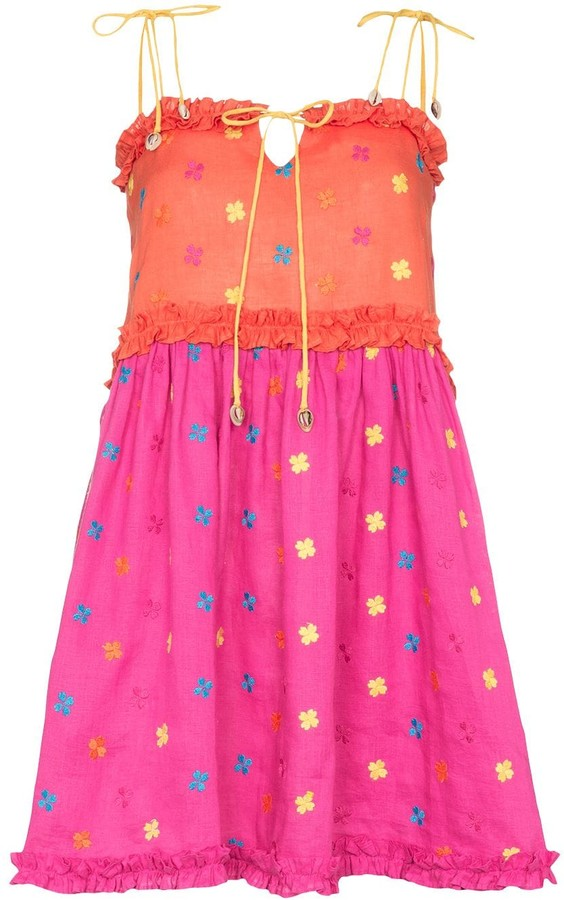All Things Mochi Nia floral-embroidered dress
