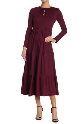 Velvet Torch Long Sleeve Tiered Maxi Dress