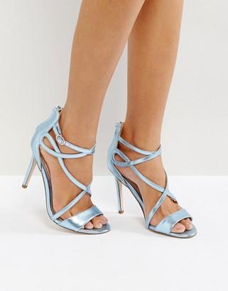 Miss KG Fiesta Metallic Strap Heeled Sandals