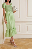 Thumbnail for your product : HVN Shirred Gingham Cotton-blend Poplin Maxi Dress - Green
