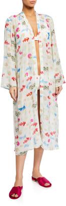 Verandah Hand Beaded Ultra-Soft Kimono Coverup Robe