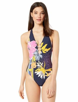 Trina Turk Women's V-Neck Halter One Piece Swimsuit