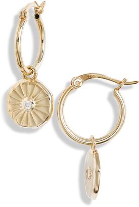 Knotty Crystal Coin Huggie Hoop Earrings