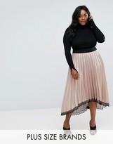 Elvi Premium Shimmer Pleated Dip Hem Skirt With Lace Detail