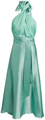 Harmur Grecian Silk Wrap Midi Dress