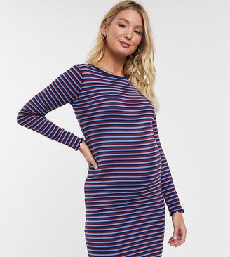 New Look Maternity rib midi dress in blue stripe