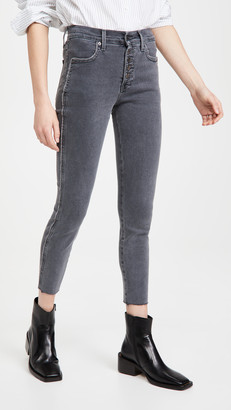 Veronica Beard Jeans Debbie High Rise Jeans with Piping and Raw Hem