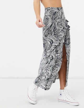 Topshop midaxi skirt with ruffle detail in zebra print