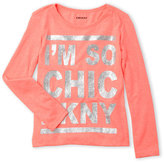 DKNY Girls 4-6x) Graphic Glitter Long Sleeve Tee