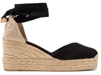 Castaner Chiara 60 Canvas & Jute Espadrille Wedges - Black