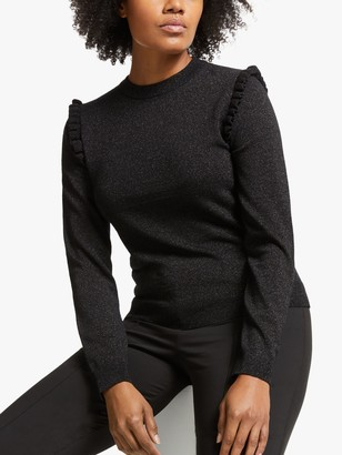 Somerset by Alice Temperley Lurex Frill Knit Jumper, Black