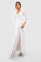 Thumbnail for your product : boohoo Bridesmaid Hand Embellished Kimono Mesh Maxi
