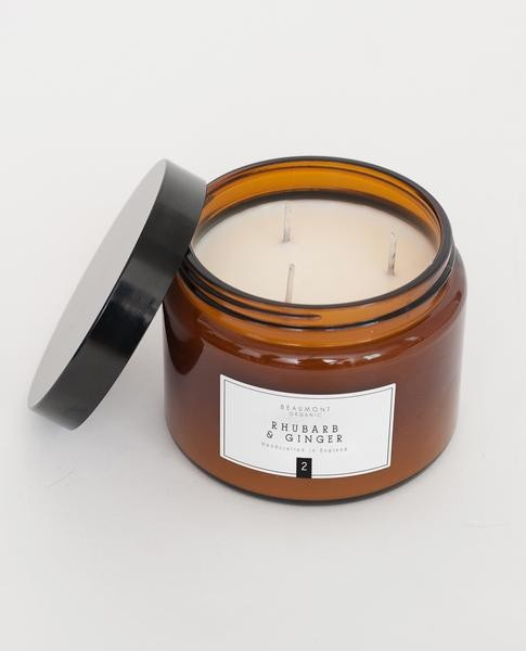 Beaumont Organic - 500ml Luxury Three Wick Candle - Limeleaf And Ginger - Brown/Glass