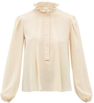 Chloé Scalloped Collar Silk Crepe De Chine Blouse - Womens - Beige