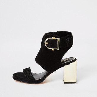 River Island Black suede buckle heeled shoe boots