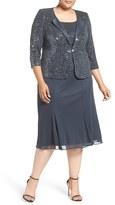 Alex Evenings Plus Size Women's Sequin Mock Two-Piece Midi Dress With Jacket