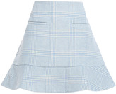 Thumbnail for your product : Ganni Woodside Flared Checked Wool-blend Felt Mini Skirt