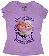 Disney Girls Strong Bond Strong Heart Frozen Fashion T Shirt - Lilac (Medium)