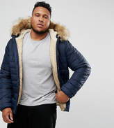 Schott Plus Rocky 2 Puffer Bomber Jacket Hooded Detachable Faux Fur Trim Slim Fit In Navy