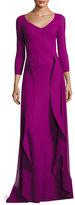 Chiara Boni La Petite Robe Lorelei V-Neck 3/4 Sleeves Evening Gown w/ Ruffled Overskirt