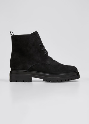 Gianvito Rossi Suede Lace-Up Hiker Booties