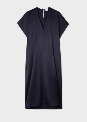 Women's Navy Twill V-Neck Dress