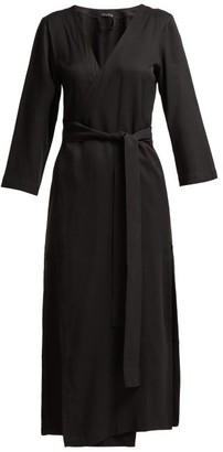 Haight Heart V-neck Wrap Crepe Midi Dress - Black