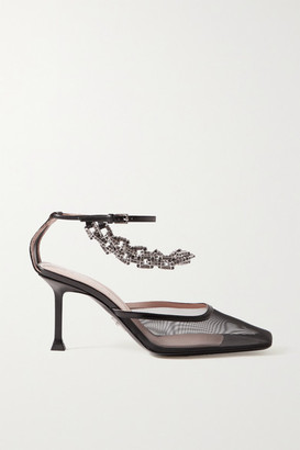 Cesare Paciotti Chain-embellished Leather-trimmed Mesh Pumps - Black