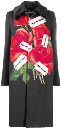 Undercover Rose And Razor Print Coat