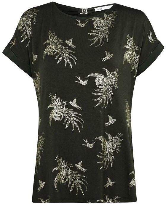 Oasis Tropical Foil Print T-shirt