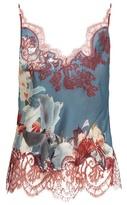 Carine Gilson Wonderland-print lace appliqué silk-satin cami top