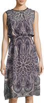 Neiman Marcus Sleeveless Paisley-Print Chiffon Dress, Multi Pattern
