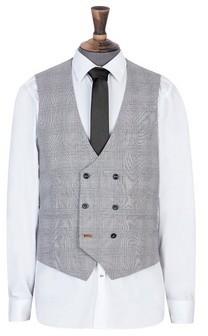 Dorothy Perkins Womens **Burton Grey Highlight Checked Slim Fit Waistcoat, Grey